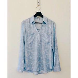 Express | Blue & White Floral Print Blouse